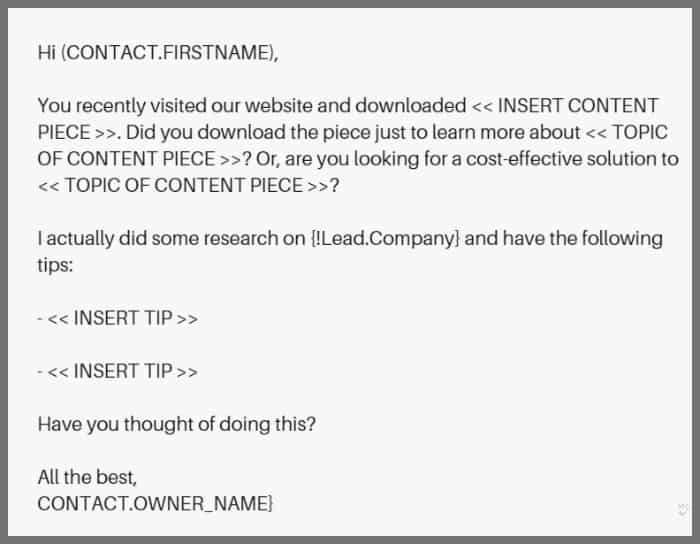 lead nurturing cold email template