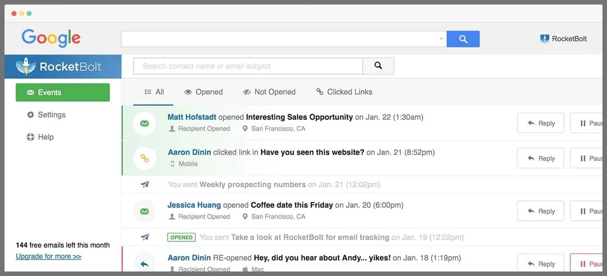 rocketbolt email tracker gmail